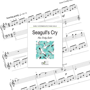 Seagull's Cry is an early intermediate piano solo by Anne Crosby Gaudet. Private studio license is available for a convenient download, print and play teaching resource.