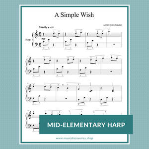 A Simple Wish, mid-elementary harp sheet music by Anne Crosby Gaudet