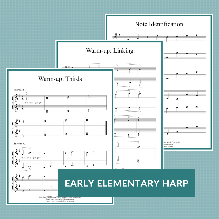 Small harp learning bundle - early elementary harp music by Anne Crosby Gaudet