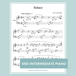 Solace, mid-intermediate piano solo by Anne Crosby Gaudet