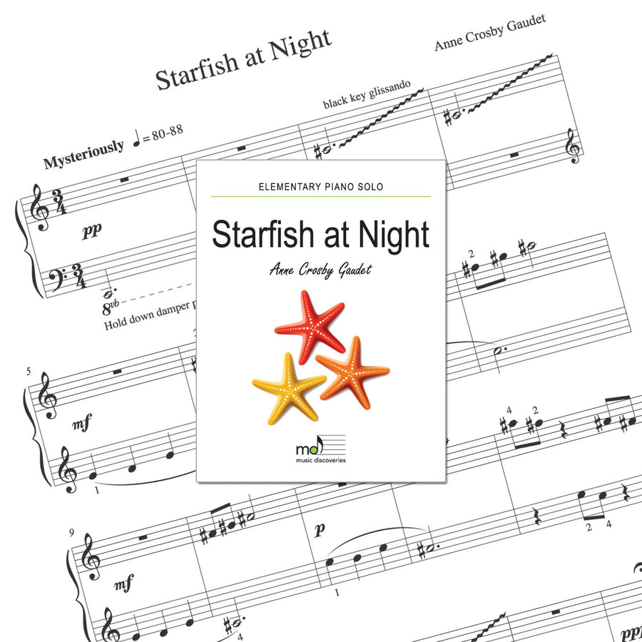 Starfish at Night is an elementary piano solo by Anne Crosby Gaudet. Private studio license is available for a convenient download, print and play teaching resource.