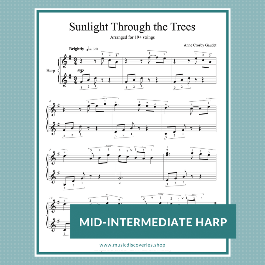 Sunlight Through the Trees, mid-intermediate harp sheet music for 19 strings by Anne Crosby Gaudet