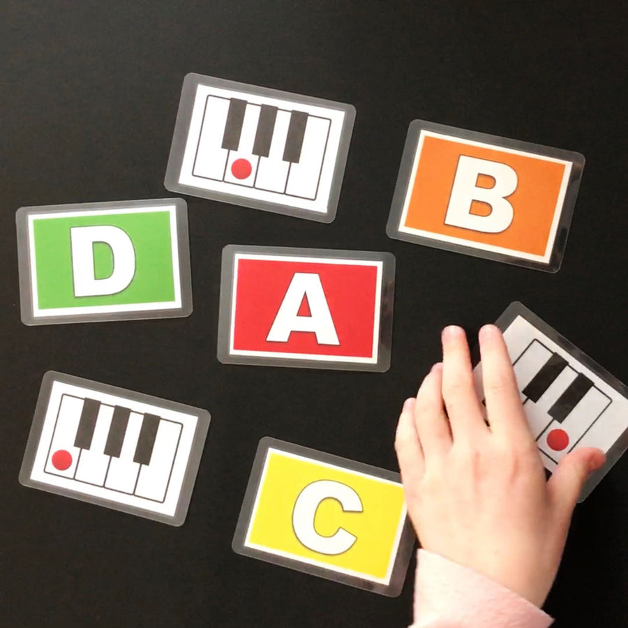 Use the Music Alphabet Cards to teach the names of the white keys on the piano.
