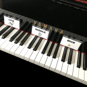 Help beginning students navigate the piano with the high, middle and low cards.