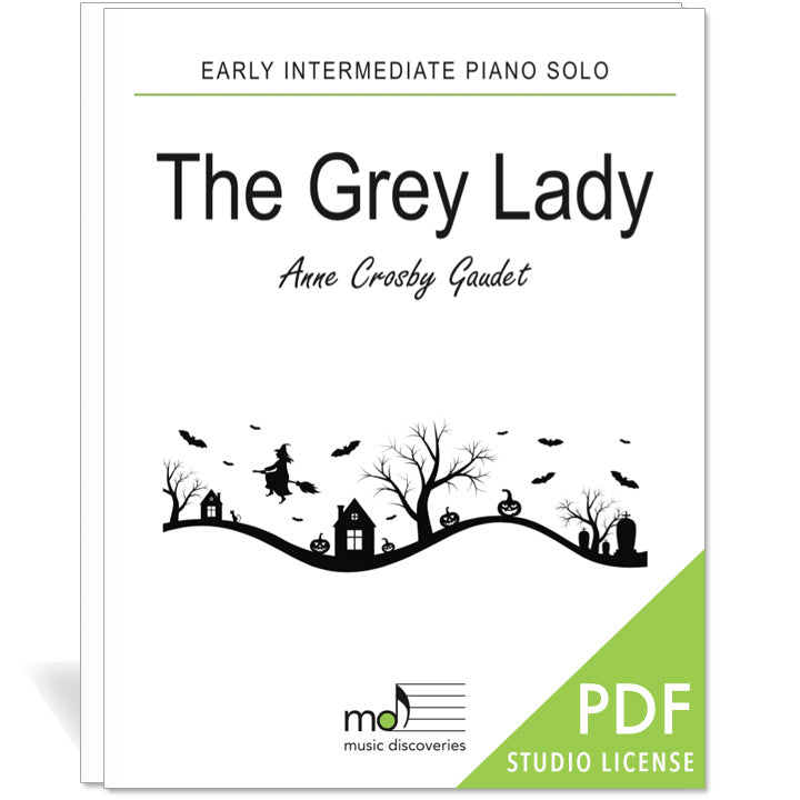 The Grey Lady is an early intermediate piano solo by Anne Crosby Gaudet. Private studio license is available for a convenient download, print and play teaching resource.