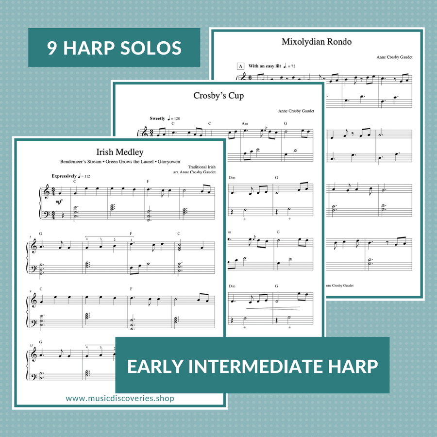 The More We Get Together, a collection of 9 early intermediate harp solos by Anne Crosby Gaudet