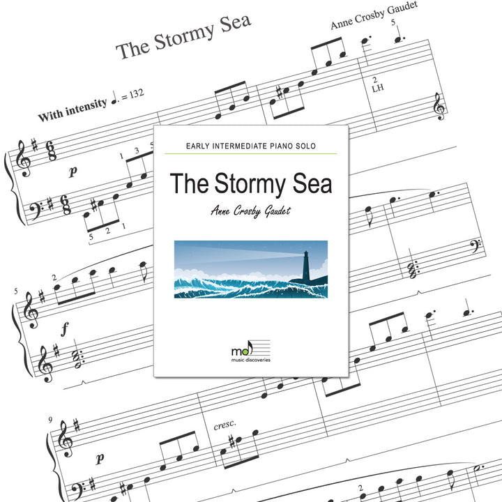 The Stormy Sea is an early intermediate piano solo by Anne Crosby Gaudet. Private studio license is available for a convenient download, print and play teaching resource.