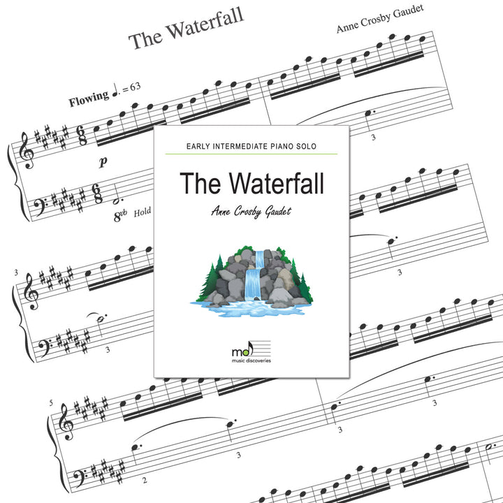 The Waterfall is an early intermediate piano solo by Anne Crosby Gaudet. Private studio license is available for a convenient download, print and play teaching resource.