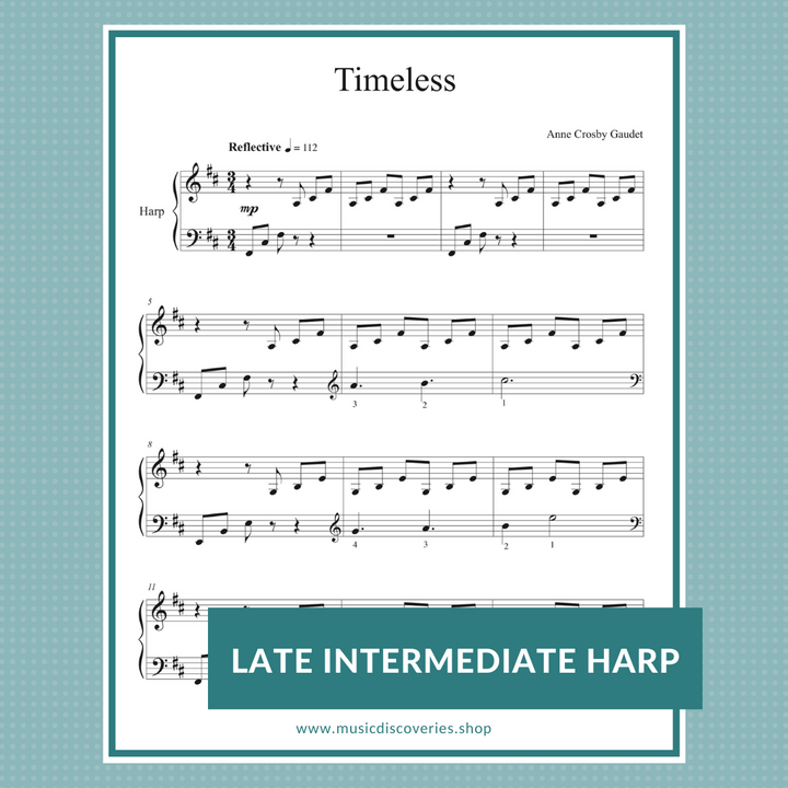 Timeless, harp sheet music by Anne Crosby Gaudet