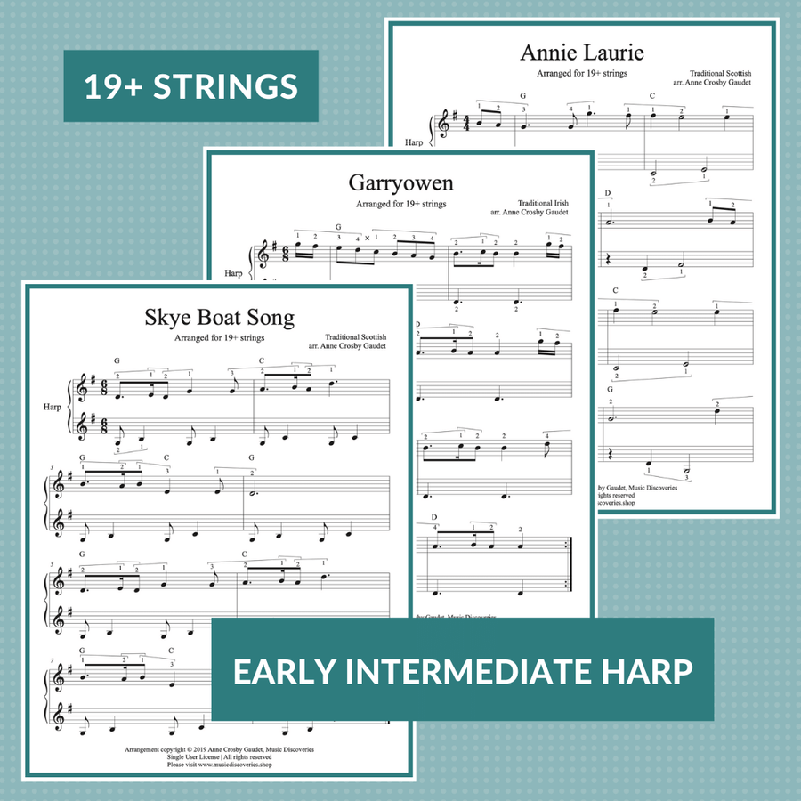 7 Traditional Tunes arranged for 19+ strings small harp by Anne Crosby Gaudet