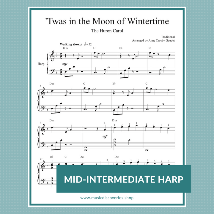Twas in the Moon of Wintertime, harp sheet music arrangement by Anne Crosby Gaudet