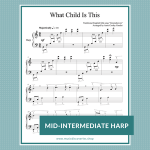 What Child Is This, mid-intermediate harp sheet music arranged by Anne Crosby Gaudet