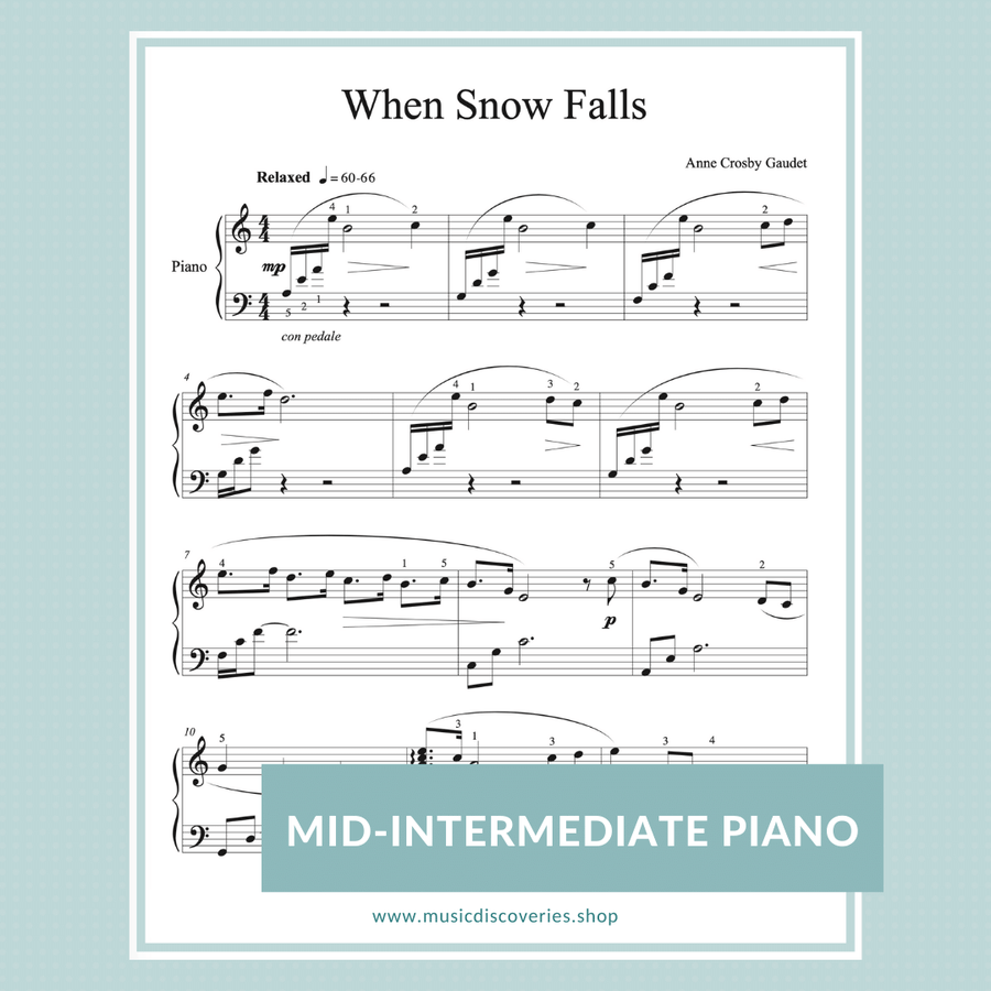 When Snow Falls, piano solo by Anne Crosby Gaudet