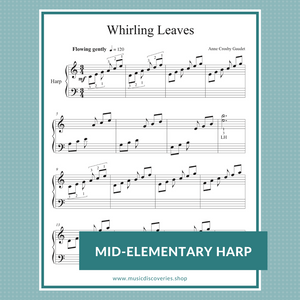 Whirling Leaves, mid-elementary harp sheet music by Anne Crosby Gaudet