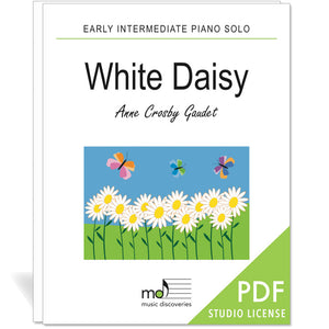 White Daisy is an early intermediate piano solo by Anne Crosby Gaudet. Private studio license is available for a convenient download, print and play teaching resource.