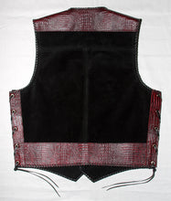 Black heavy weight suede laced vest, faux red croc trim, whip-stitched, no seam front.