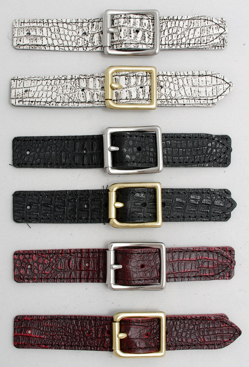 Stainless steel or Brass vest buckle and Faux Croc covered strap sets.