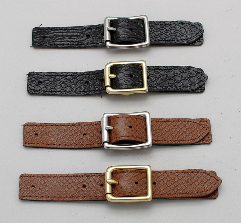 Stainless steel or Brass vest buckle and Faux Snake covered strap sets.