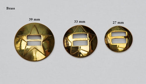 Conchoes Brass, sizes 39 mm, 33 mm and 27 mm.
