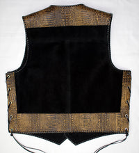 Black heavy weight suede laced vest, faux yellow croc trim, whip-stitched, no seam front.