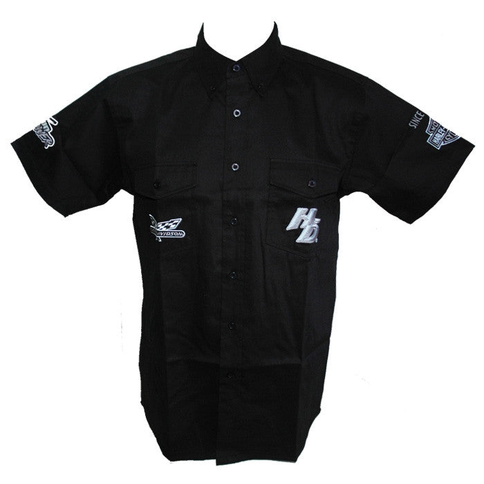 Harley-Davidson Chrome Pitt Crew, dress shirt, twin button pockets, short sleeve