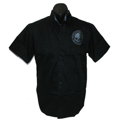 Harley-Davidson Willie G Flame dress shirt, twin button pockets, short sleeve