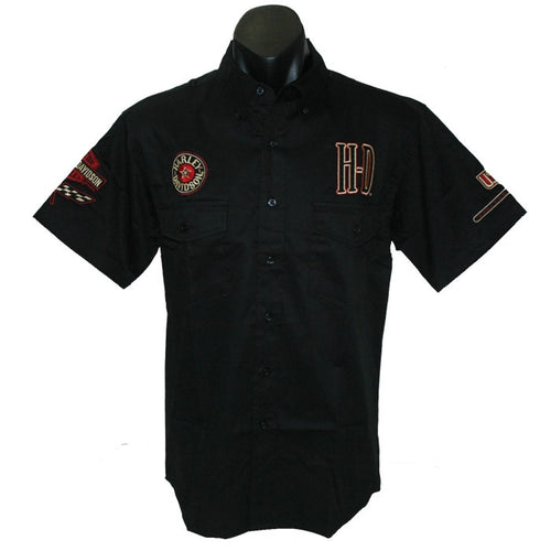 Harley-Davidson Retro Pitt Crew dress shirt, twin button pockets, short sleeve