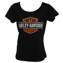 Harley-Davidson Black Stretch Bar & Shield Scoop neck Womens Tee-shirt