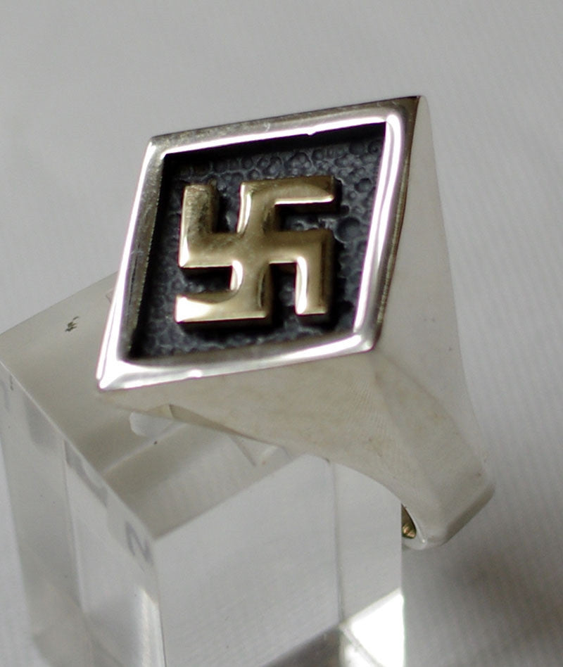 Sterling Silver ring with 9 ct gold Swastika ring #1188