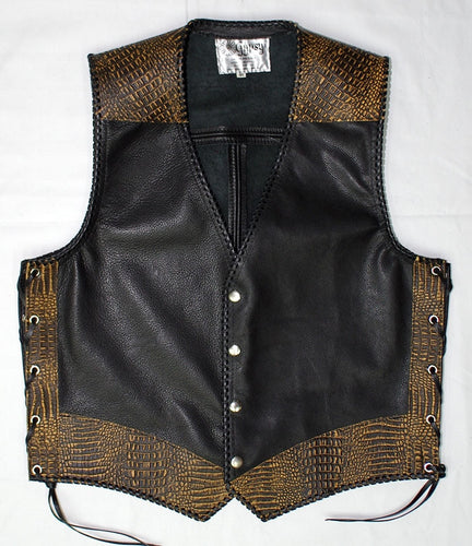 Black leather laced vest, faux Yellow croc trim, whip-stitched, no seam front.