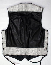 Black leather laced vest, faux White croc trim, whip-stitched, no seam front.
