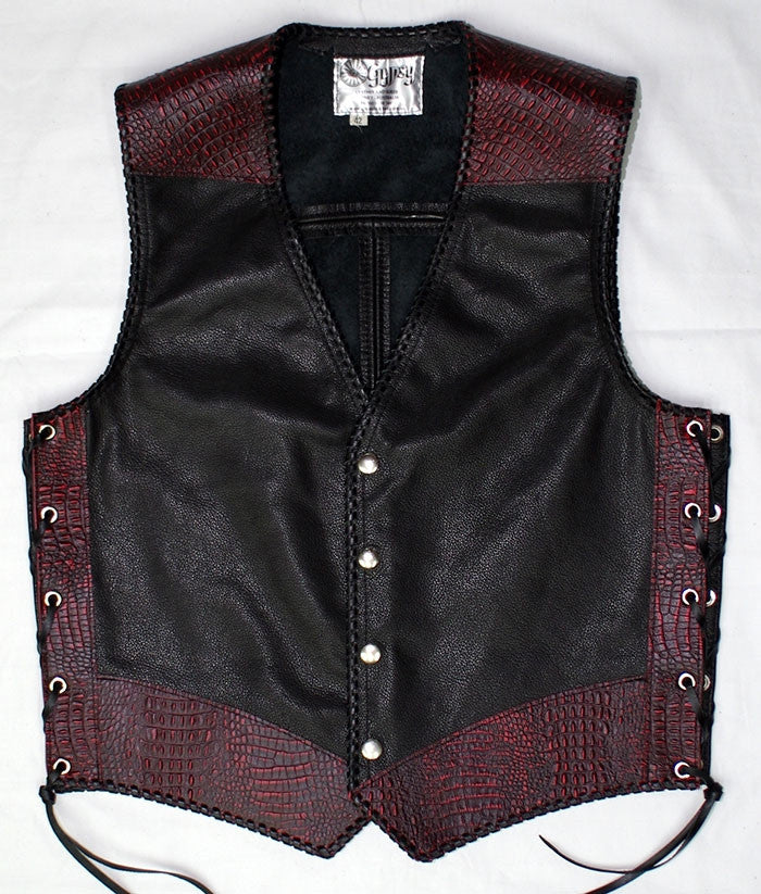 Black leather laced vest, faux Red croc trim, whip-stitched, no seam front.