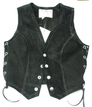 Ladies black suede fitted vest with laced sides.
