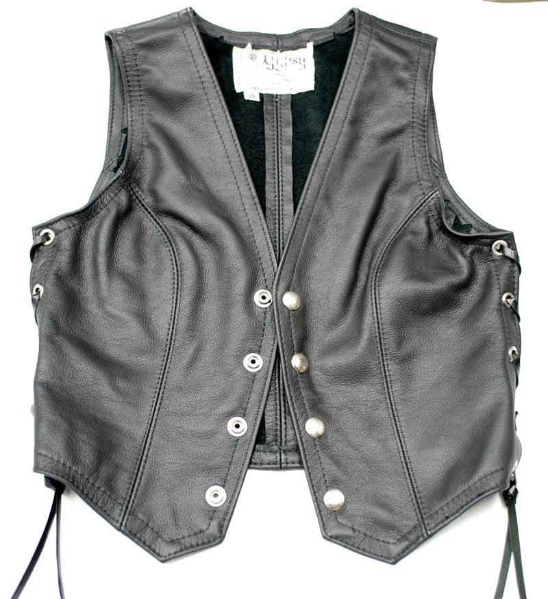 Ladies black leather fitted vest with laced sides.