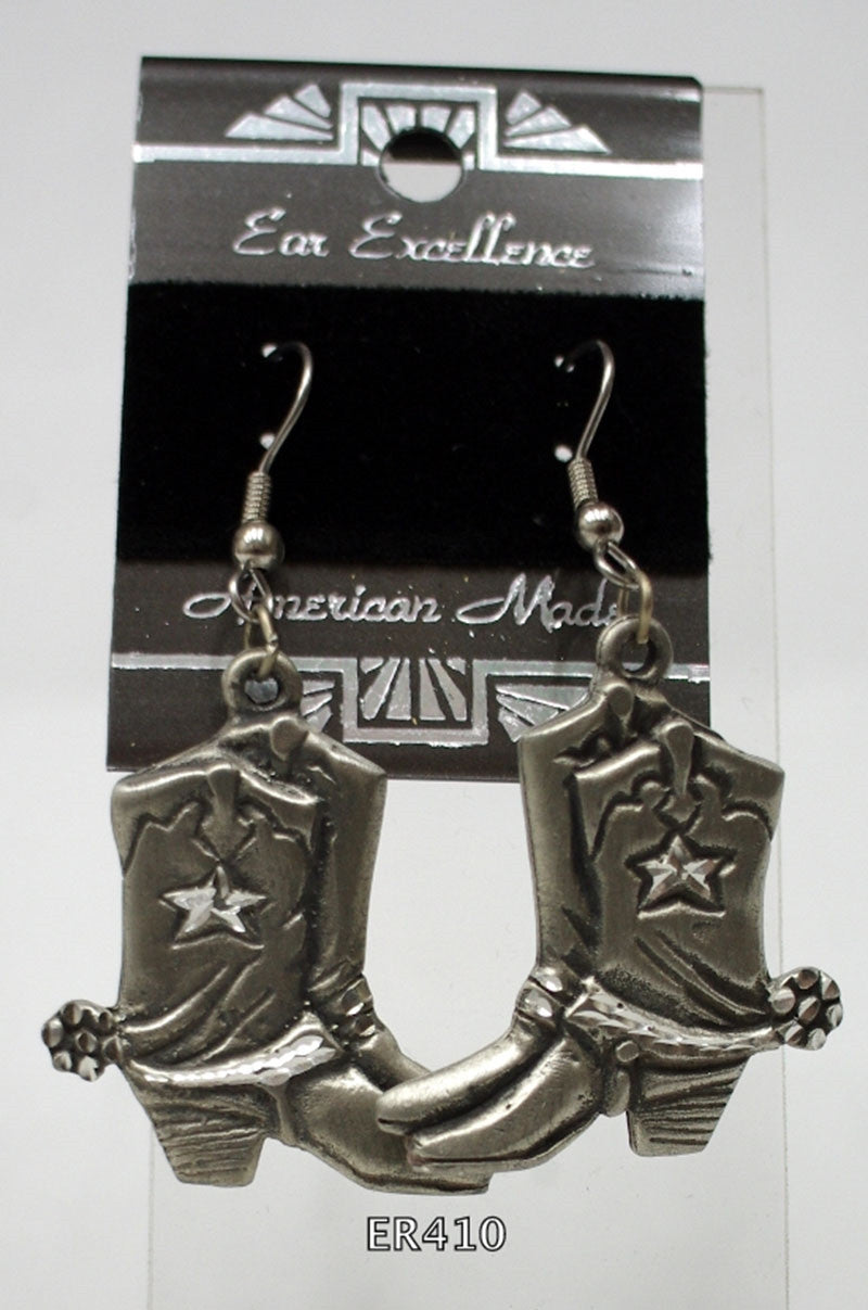 Ladies diamond cut pewter earrings