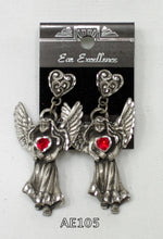 Ladies Angel post earrings, diamond cut pewter with coloured Austrian crystal.
