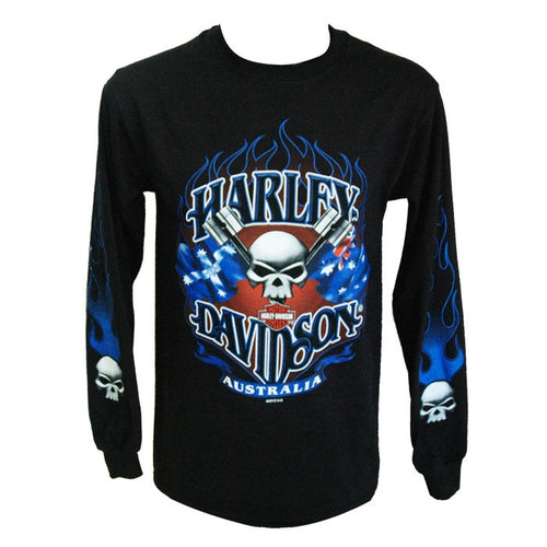 H-D Aussie Piston Skulls Long Sleeve Tee