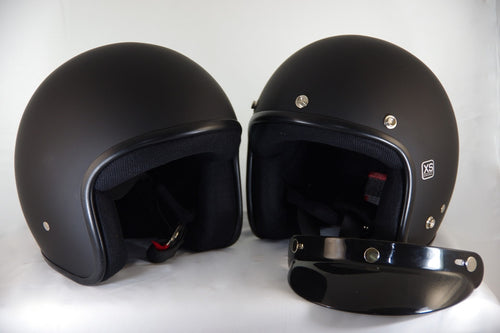 M2R flat black helmets with or without a peak.
