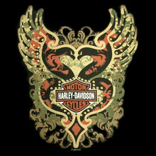 H-D Harley-Davidson Eagle Heart ladies V Neck with GOLD STUDDED DETAIL.