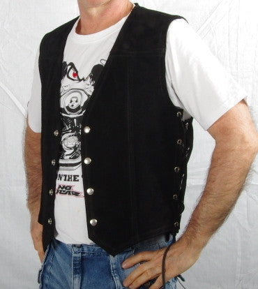 Black heavy weight suede laced vest without front pockets