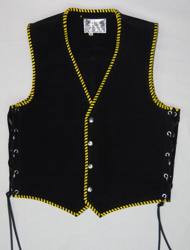 Black heavy weight suede laced vest, yellow whip-stitched, no seam front.