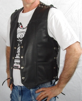 Black leather mens vest with laced sides and shoulders, two front pockets.