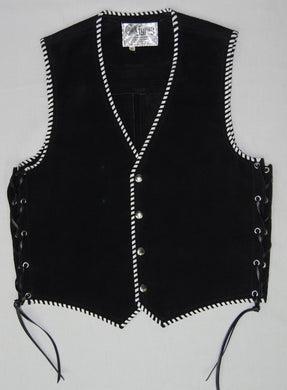 Black heavy weight suede laced vest, white whip-stitched, no seam front.