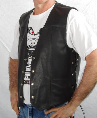 Black leather mens vest with laced sides, two front pockets.