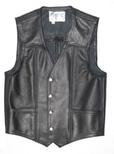 Black leather mens plain standard vest, two front pockets.