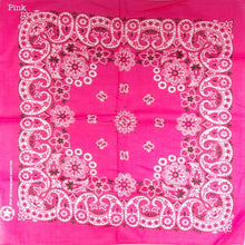 Bandana 54 cm square. Assorted colours. Made in the USA, 100% Cotton