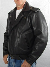 Black leather mens and ladies Brando jacket. Two front zip pockets.