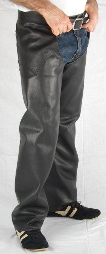 Black leather mens chaps.