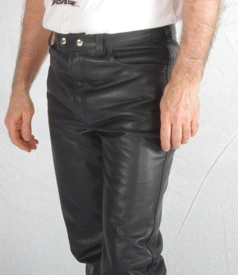 Black leather mens 5 pockets jeans.