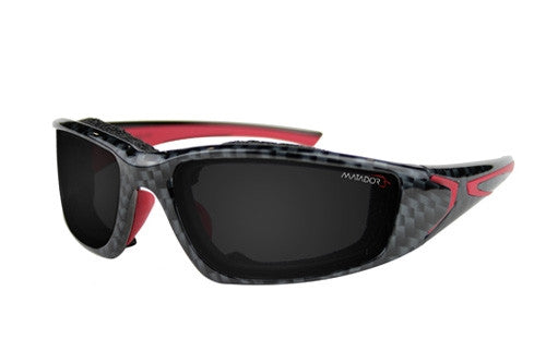 Matador Barcelona Carbon fibre pattern with red frame - Clear/Grey lense kit.